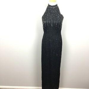 Vintage silk sequin floor length gown